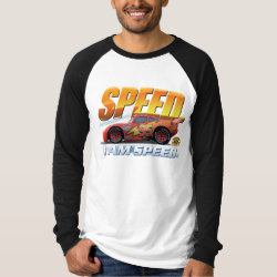 Men's Canvas Long Sleeve Raglan T-Shirt with Lightning McQueen: I Am SPEED design