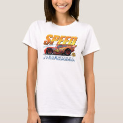Women's Basic T-Shirt with Lightning McQueen: I Am SPEED design