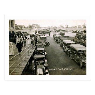 Cars on a Busy Sunday, Long Beach, NY Vintage Postcard