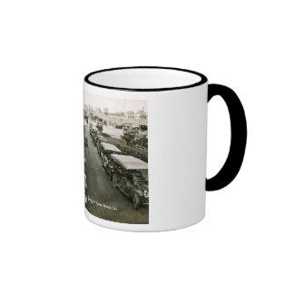 Cars on a Busy Sunday, Long Beach, NY Vintage Ringer Mug