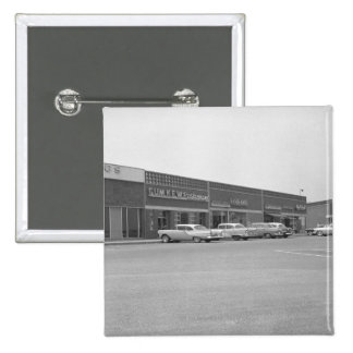 Cars on shopping centre parking B&W Pinback Button