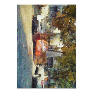 Cars parked 3.5x5 paper invitation card