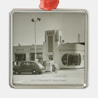 Cars parked at gas station square metal christmas ornament