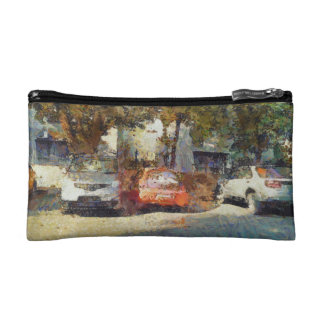 Cars parked cosmetic bag