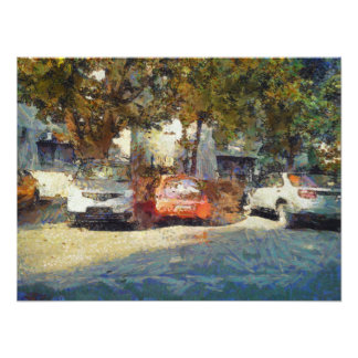 Cars parked photo print