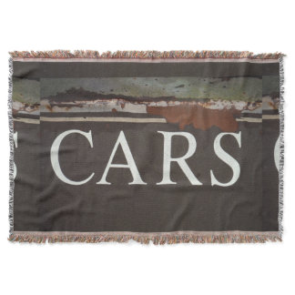 Cars sign on antique tow truck. car, rusted metal throw blanket