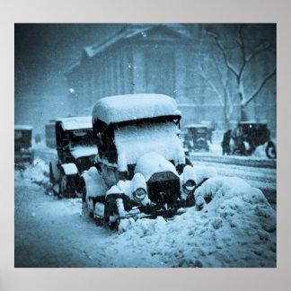 Cars Stuck in the New York City Snow 1917 Cyan Print