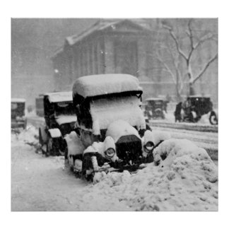 Cars Stuck in the New York City Snow 1917 Poster