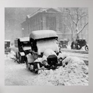 Cars Stuck in the New York City Snow 1917 Print