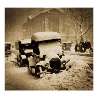 Cars Stuck in the New York City Snow 1917 Sepia Print