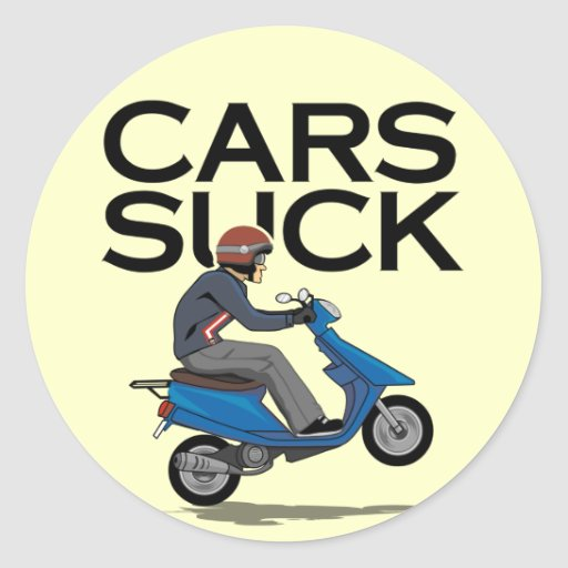 Large Decals For Cars Cars Suck - Scooter Classic Round Sticker | Zazzle