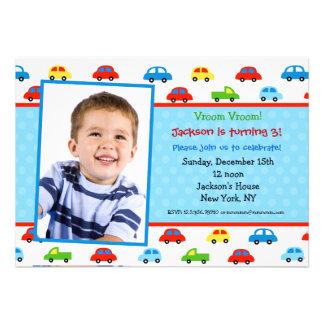 Cars Truck Photo Birthday Party Invitation boy