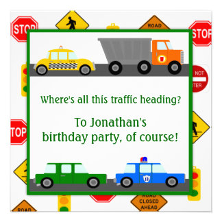 Cars Trucks and Street Signs Children s Birthday Personalized Announcement
