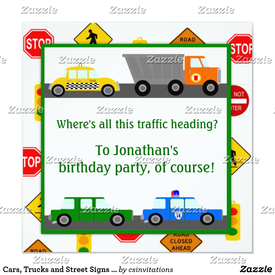 Cars, Trucks and Street Signs Children's Birthday