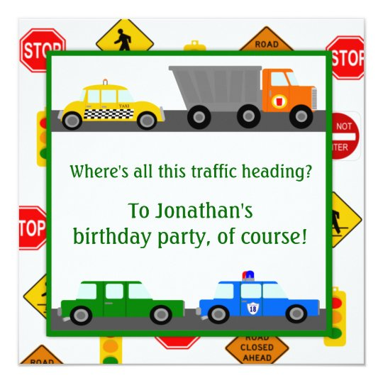 Cars, Trucks and Street Signs Children's Birthday Card