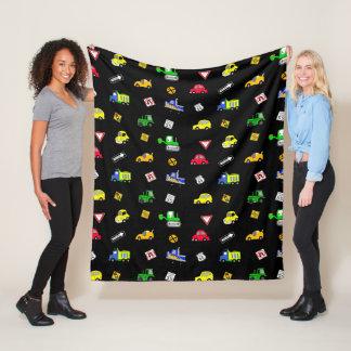 Cars, Trucks, Tractors and Street Signs Fleece Blanket