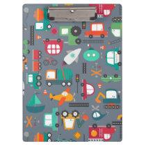 Cars Trucks Vehicles Kids Pattern  Clipboard