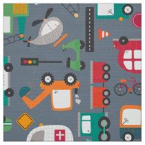 Cars Trucks Vehicles Kids Pattern Fabric