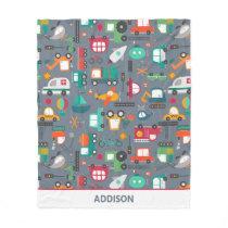 Cars Trucks Vehicles Kids Pattern Personalized Fleece Blanket