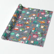 Cars Trucks Vehicles Kids Pattern Wrapping Paper