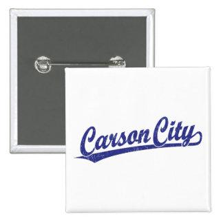 Carson City script logo in blue Button