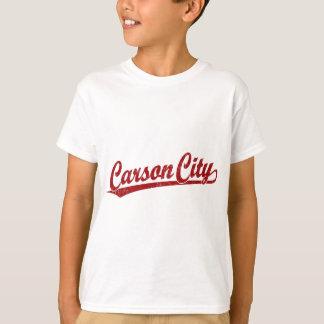 Carson City script logo in red T-Shirt
