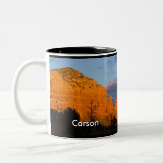 Carson en la taza roja de la roca de la salida de
