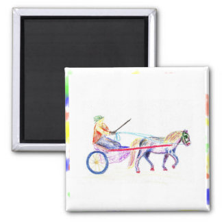 Cart horse in colored crayon pastel, pony sulky 2 inch square magnet