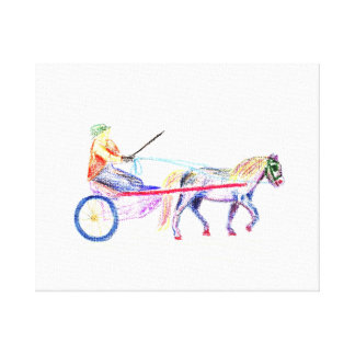 Cart horse in colored crayon pastel, pony sulky stretched canvas prints