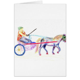 Cart horse in colored crayon pastel, pony sulky greeting card