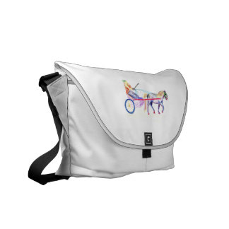 Cart horse in colored crayon pastel, pony sulky courier bag