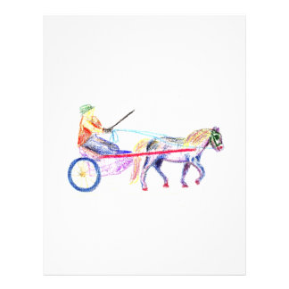 Cart horse in colored crayon pastel, pony sulky custom flyer