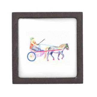 Cart horse in colored crayon pastel, pony sulky gift box