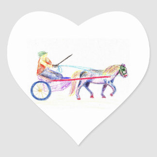 Cart horse in colored crayon pastel, pony sulky heart sticker