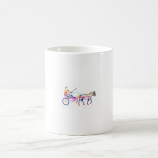 Cart horse in colored crayon pastel, pony sulky coffee mug