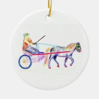 Cart horse in colored crayon pastel, pony sulky christmas tree ornaments