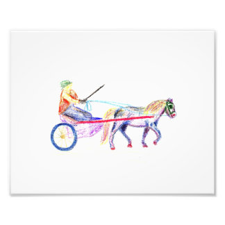 Cart horse in colored crayon pastel, pony sulky photo art