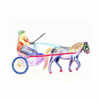 Cart horse in colored crayon pastel, pony sulky photo sculpture