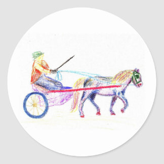 Cart horse in colored crayon pastel, pony sulky round stickers