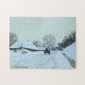 Cart Snow Covered Road Saint-Simeon Monet Fine Art Puzzle