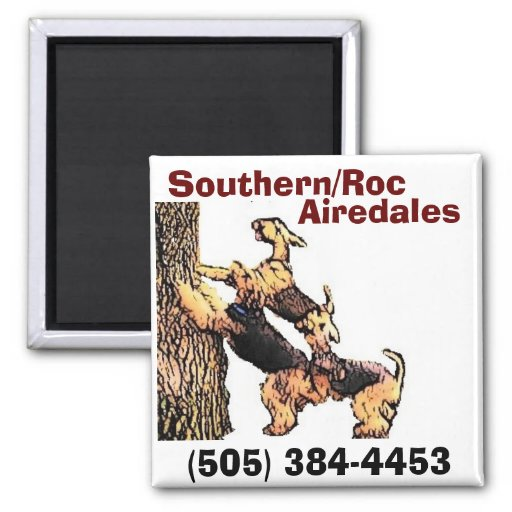 Cart-tree2, Southern/Roc, Airedales, (505) 384-... 2 Inch Square Magnet
