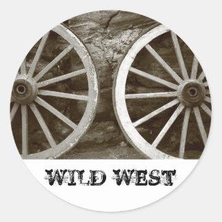 Cart wheels classic round sticker