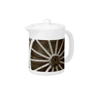 Cart wheels teapot