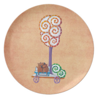 Cart with Magical Tree and Bench Party Plate