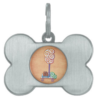 Cart with Magical Tree and Bench Pet Name Tags