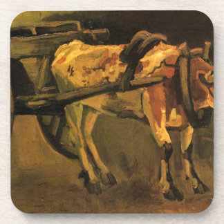 Cart with Red and White Ox by Vincent van Gogh Coaster