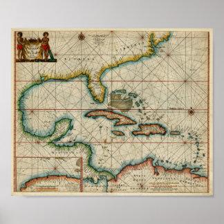Carta 1666 del Caribe Póster