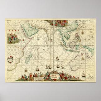 Carta 1690 del mar de Dutch East la India Company Póster