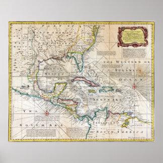 Carta 1720 de las Antillas Póster