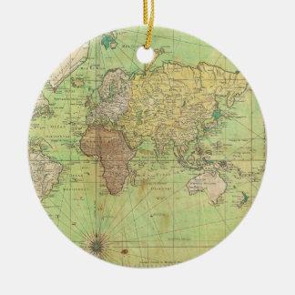 Carta 1778 de Bellin o mapa náutica del mundo Adorno Navideño Redondo De Cerámica